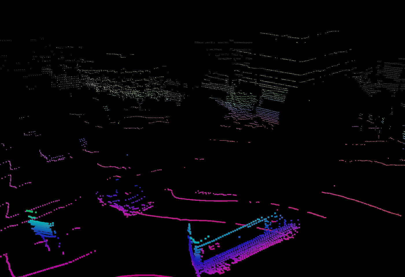 3D bounding boxes in a lidar point cloud - before and after annotation