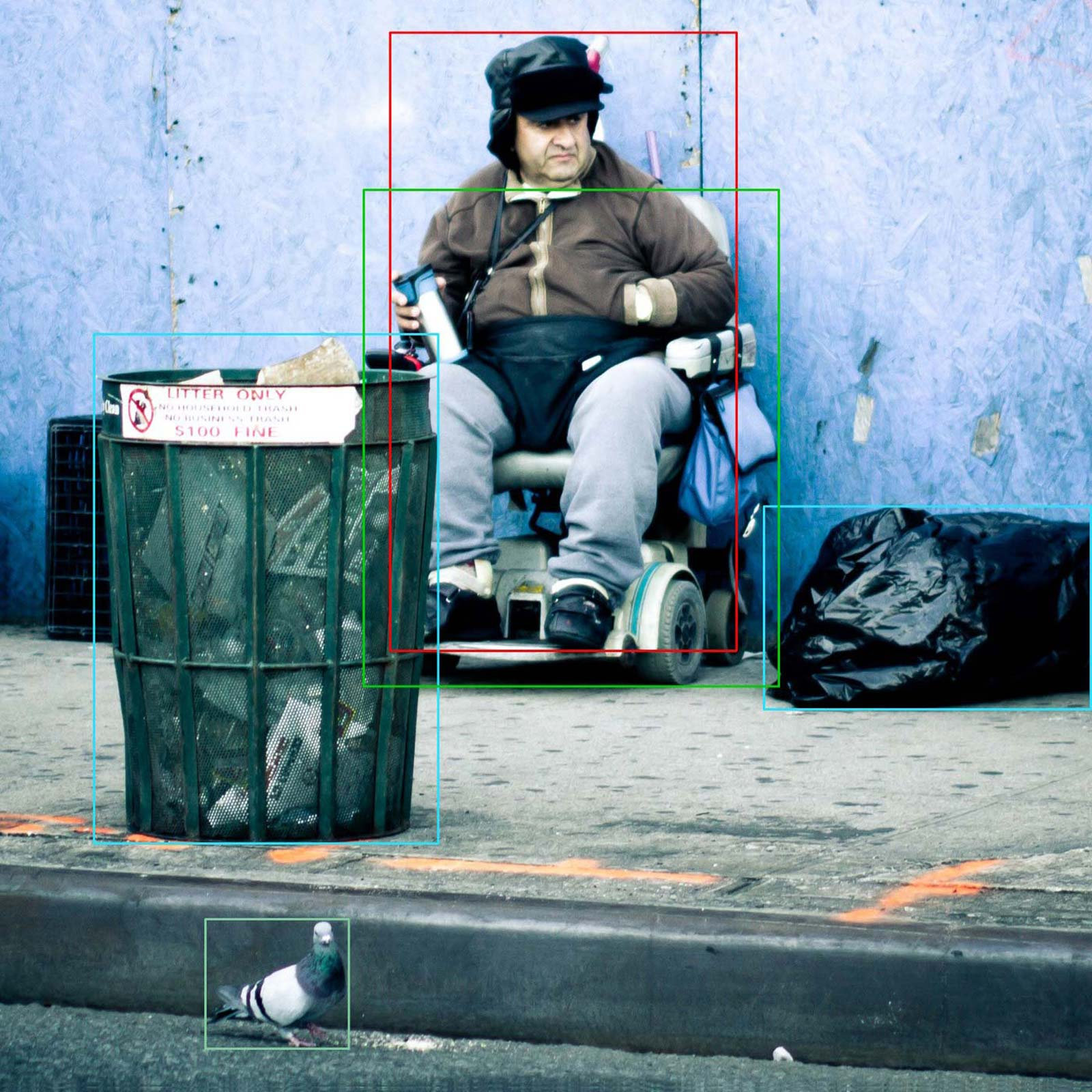 A man in a wheelchair, annotated image with right classification